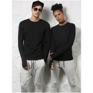 Skult Black Solid Cotton Thumbhole T-Shirts