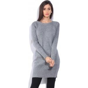 MS TAKEN Gray Melange Solid Sweatshirt