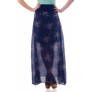Miss Chase Printed Women\'s Asymetric Blue Skirt