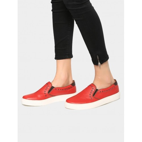 Bata North Star Red Synthetic Tpr Slip On Loafers