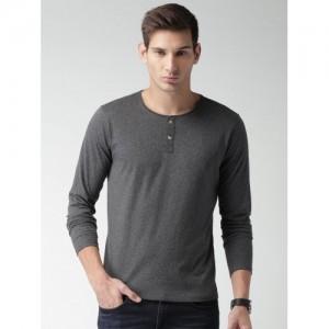 Mast & Harbour Men Charcoal Grey Solid Henley T-shirt