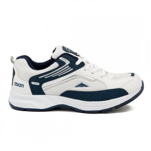 Asian FUTURE-01 White & Navy Blue Lace-up Running Shoes