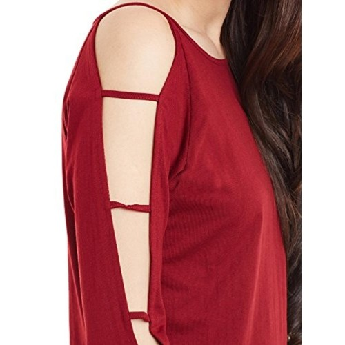 Miss Chase Women's Maroon Full Sleeves Round Neck Solid Top