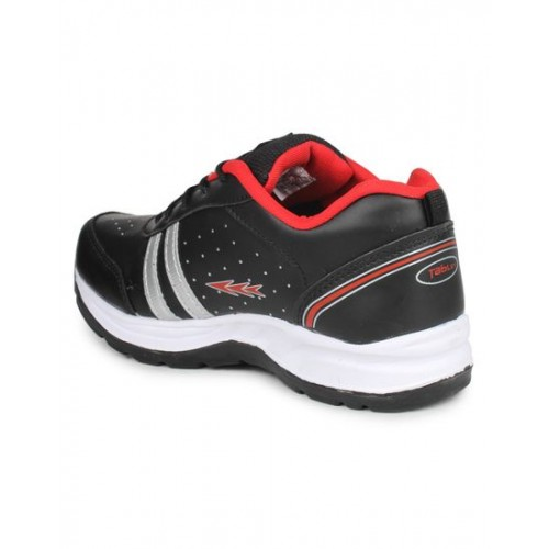 Columbus Black Synthetic Leather Running Shoes