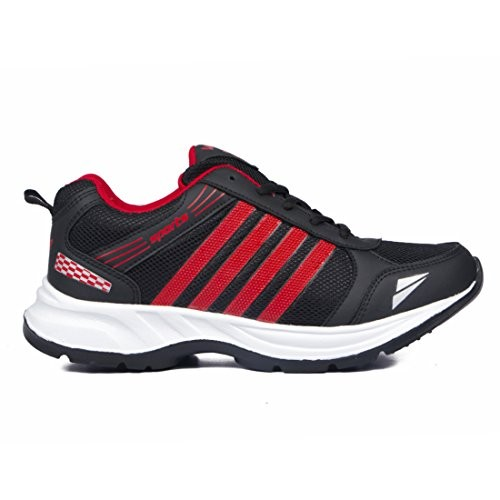 ASIAN Black and Red Mesh Lace-up Running Shoes