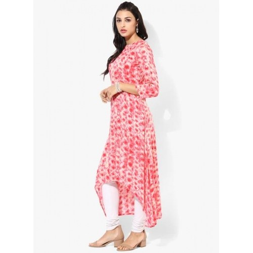 Gerua Pink Printed Rayon 3/4th Sleeves Blend Kurta