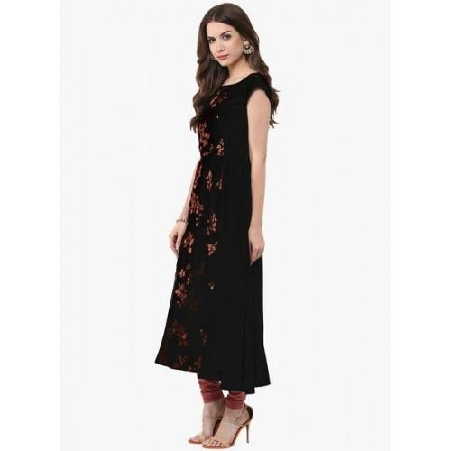 Janasya Black Crepe Embellished Anarkali