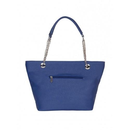 Adisa Blue Leatherette Cutwork Handbag