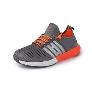 Vir Sport Men's Grey Lace Up Mesh Running Shoes