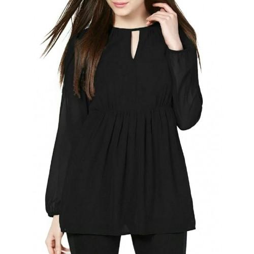db67f5c729c9 Buy INDICOT Black Solid Georgette Long Sleeve Top online