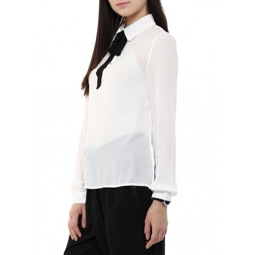 8258166ea5cf Buy INDICOT White Solid Georgette Collar Neck Top online