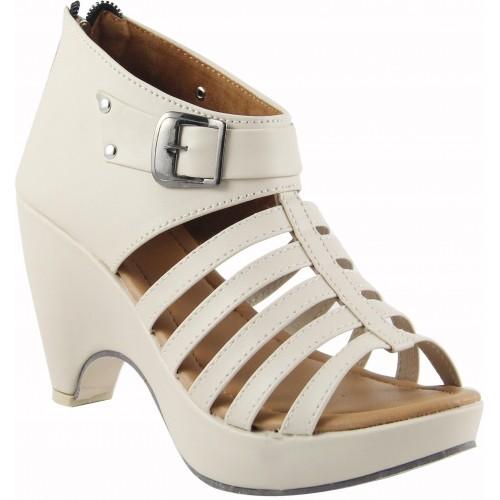 Cute Fashion Women Beige, Cream Heels