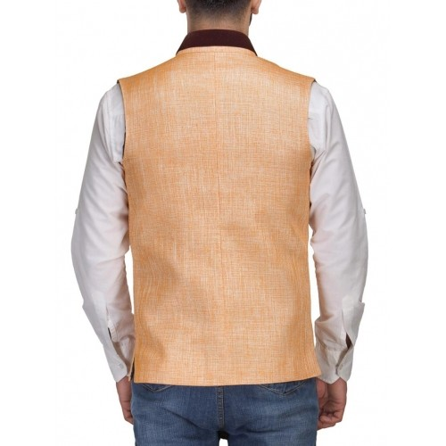 Platinum Studio Peach Solid Cotton Waistcoat