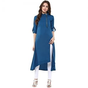Janasya Blue Polyester Asymmetric High Low Solid kurta