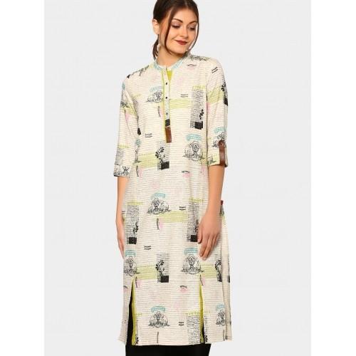 W Women Off-white Linen Blend Printed Regular Fit Kurta