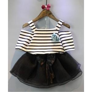 Superfie White & Black Cold Shoulder Top & Skirt Set