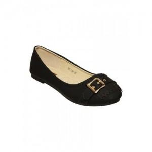 Flat N Heels Black Polyurethane Leatherette Ballerina
