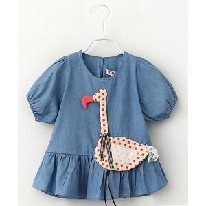 Lil Mantra Blue Swan Applique Frocks
