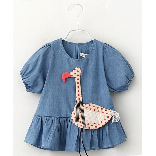 Lil Mantra Blue Swan Applique Frocks