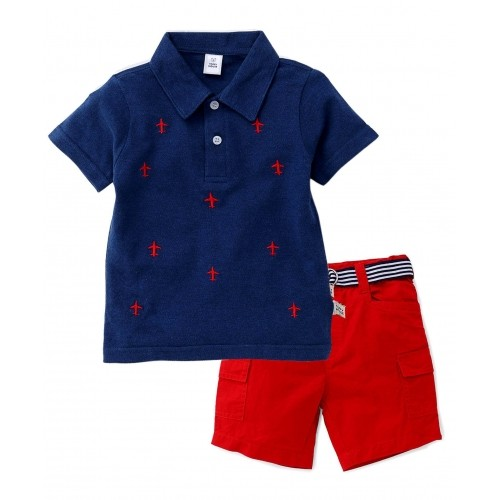 Buy ToffyHouse Half Sleeves T-Shirt And Shorts with Belt Plane ...