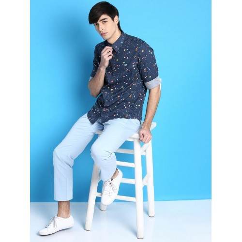 Desigual NavyBlue Cotton Printed Casual Shirt