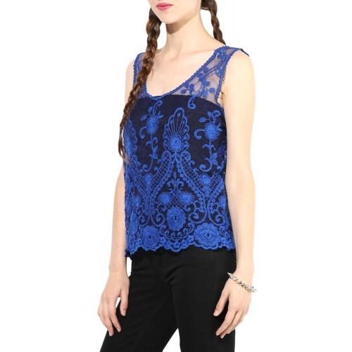 3f920524e04e7f Buy KARYN Royal Blue Solid Cotton Sleeveless Shrug Top online ...