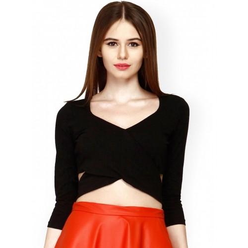 FabAlley Women Black Crop Top