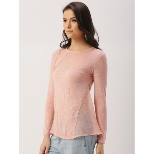 all about you from Deepika Padukone Women Pink Top with Sheer Inserts
