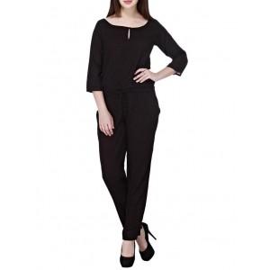 Cottinfab black viscose full leg jumpsuit
