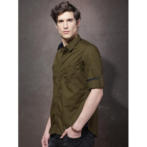 00ac63c44e9 Buy Roadster Men Olive Green Regular Fit Solid Casual Shirt online ...
