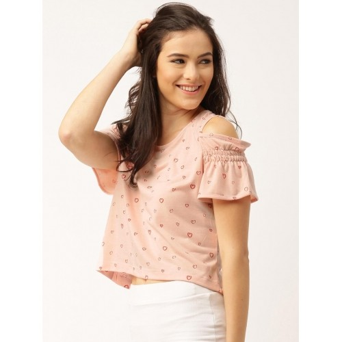 a17a503865b32 Buy DressBerry Women Peach-Coloured Printed Cold Shoulder Top ...