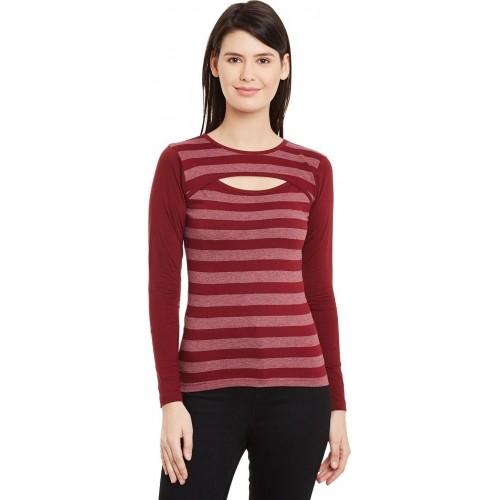68401d19a0a Buy Hypernation Striped Women s Round Neck Maroon