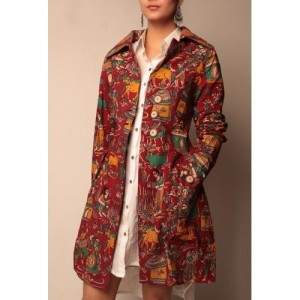Deep Red Kalamkari Trench Coat With Wooden Buttons