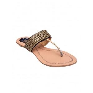 DESI VEEDESI Black & Peach Leather Slip On Sandals