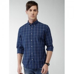Tommy Hilfiger Navy Blue & White Cotton Checked Regular Fit Casual Shirt