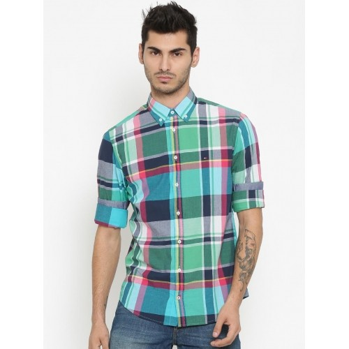 92db6aec3 ... Tommy Hilfiger Men Multicoloured New York Fit Checked Casual Shirt ...