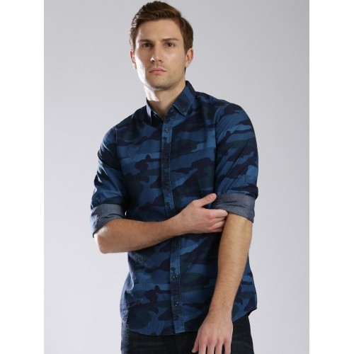 0f404bf847a27 Buy Tommy Hilfiger Blue Camouflage Print Men's Casual Shirt online ...