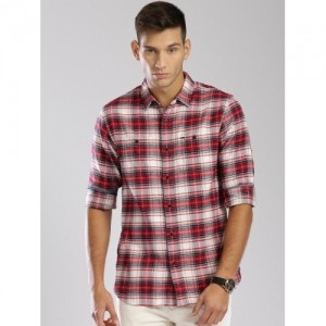 Tommy Hilfiger Red & Off White Cotton Checked Casual Shirt