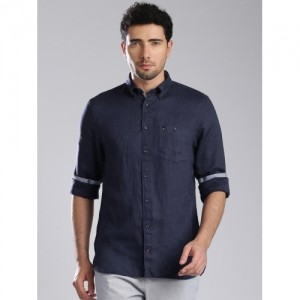 Tommy Hilfiger Navy Blue Linen Solid Casual Shirt