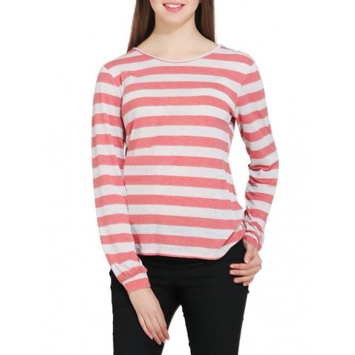 Buy Gudi Pink & White Viscose Striped Long Sleeve T-shirt online ...
