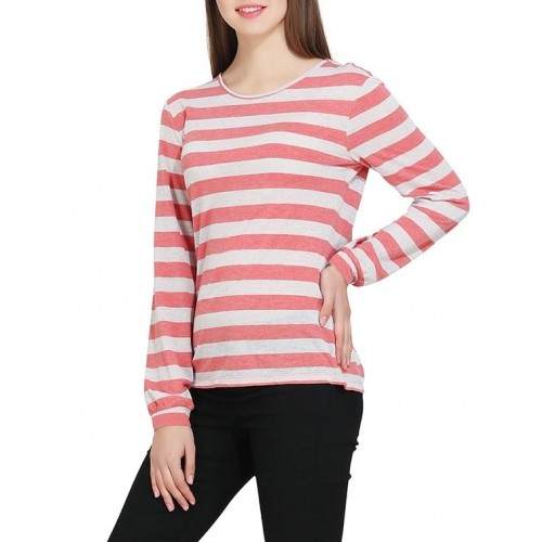 Buy Gudi Pink White Viscose Striped Long Sleeve T Shirt