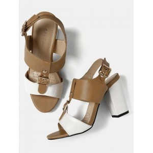 Mast & Harbour White & Brown Colourblocked Heels