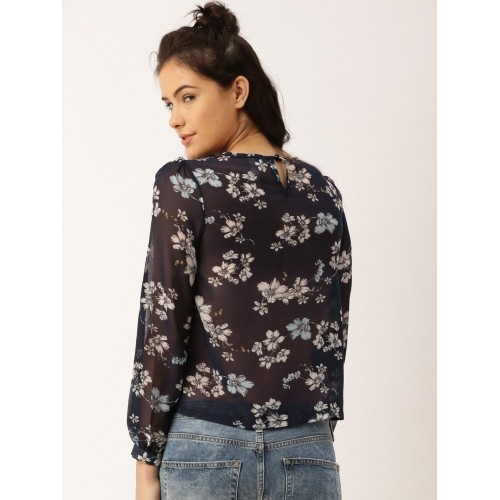 DressBerry Navy Blue Polyester Printed Top