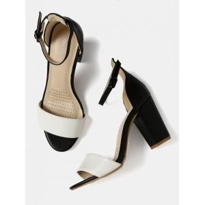 Mast & Harbour  White & Black Colourblocked Heels