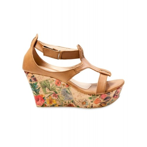 b6cc45c8bf9 Buy Marc Loire Beige Faux Leather Floral Platform Wedges online ...