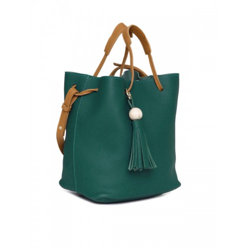 DressBerry Teal Textured Bucket Bag