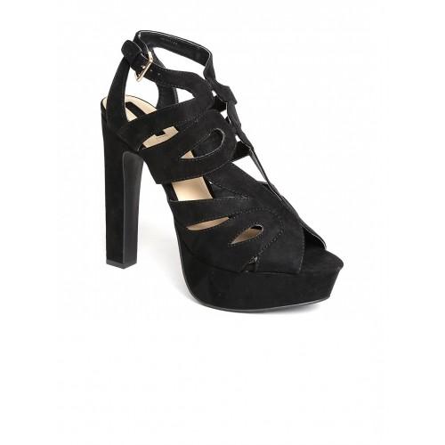 Buy FOREVER 21 Black Strappy 6 Inch Block Heels Sandal online ...