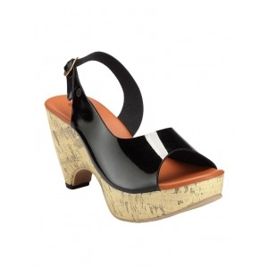 NELL Black & Tan synthetic Leather Back Strap Sandals