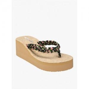 Zachho Black & Beige Rubber Slip-on Flat Flip Flops