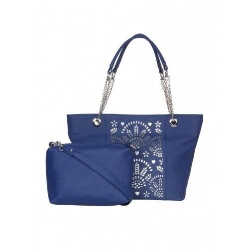 ADISA blue leatherette handbag with sling bag
